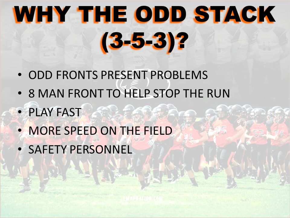 WHY THE ODD STACK (3-5-3) ODD FRONTS PRESENT PROBLEMS