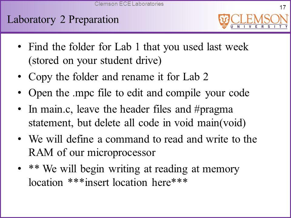 Laboratory 2 Preparation