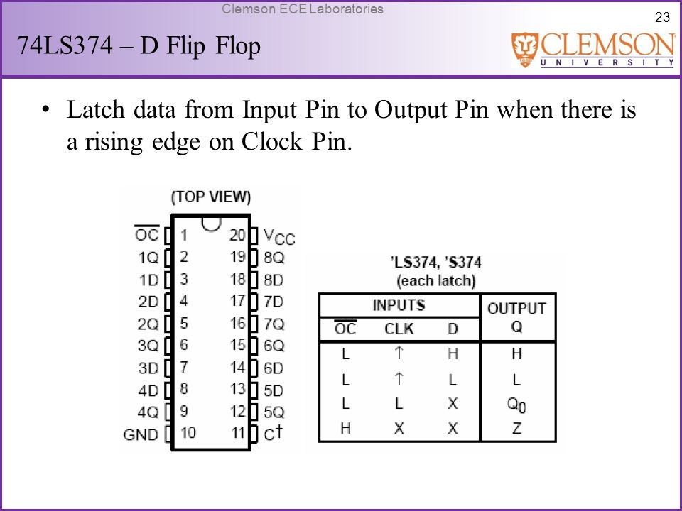 74LS374 – D Flip Flop Latch data from Input Pin to Output Pin when there is a rising edge on Clock Pin.