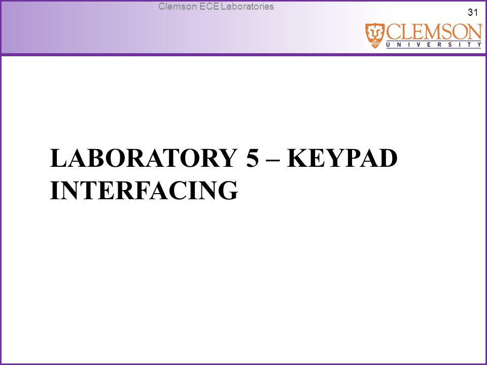 Laboratory 5 – Keypad Interfacing
