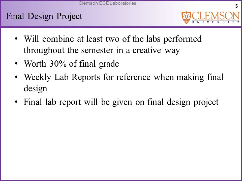 Weekly Lab Reports for reference when making final design