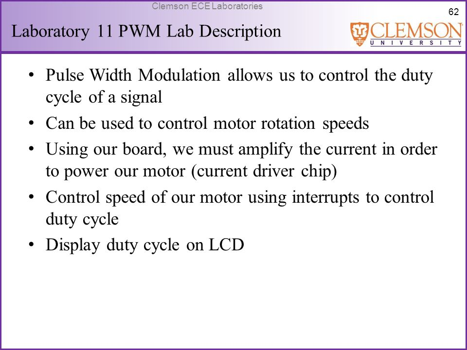 Laboratory 11 PWM Lab Description