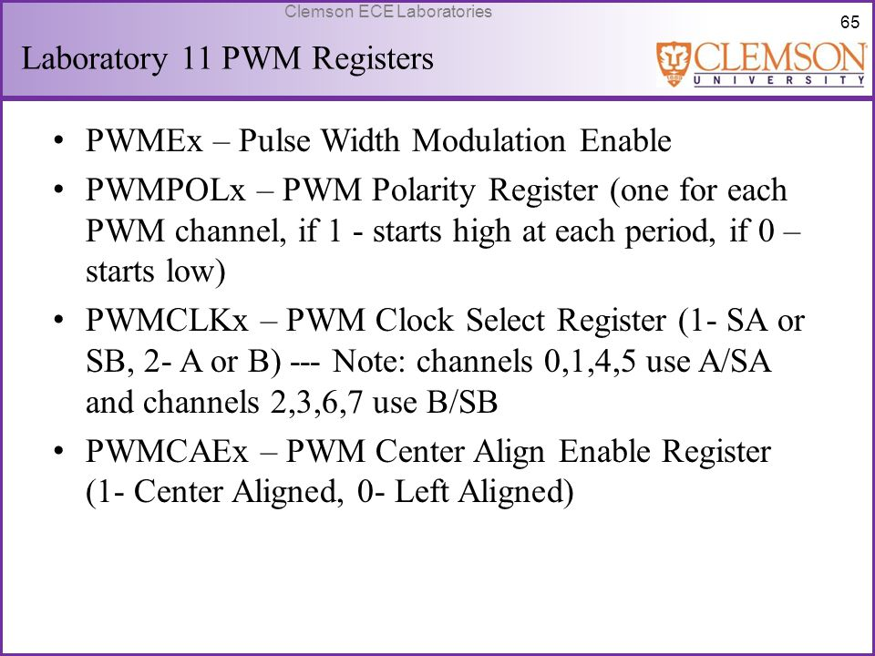 Laboratory 11 PWM Registers
