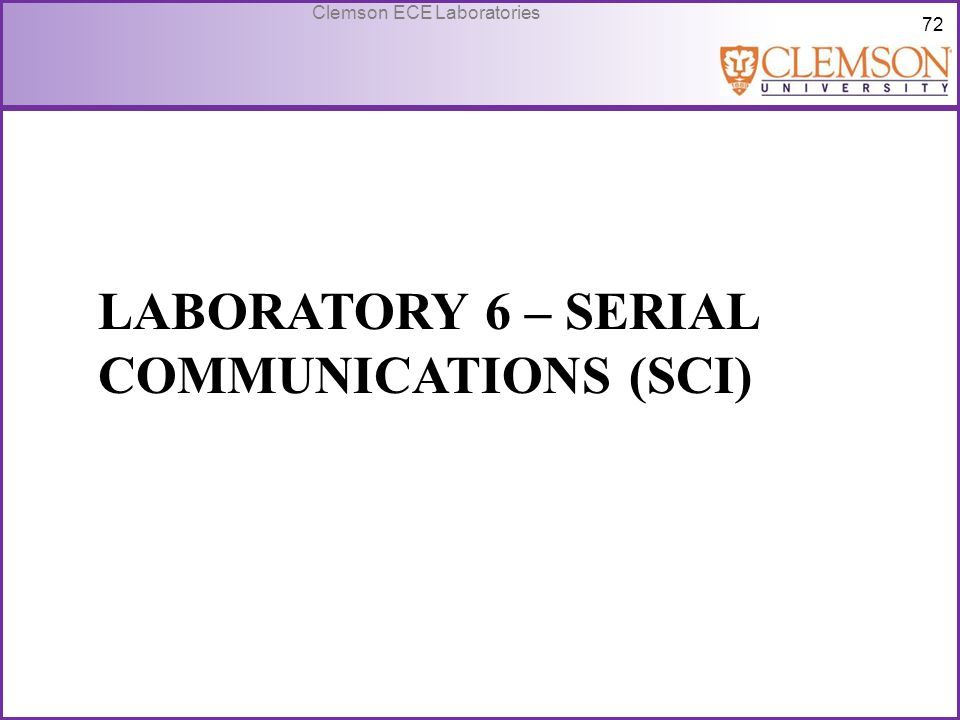 Laboratory 6 – Serial Communications (SCI)