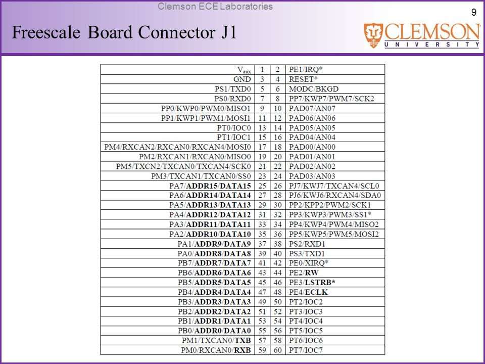 Freescale Board Connector J1