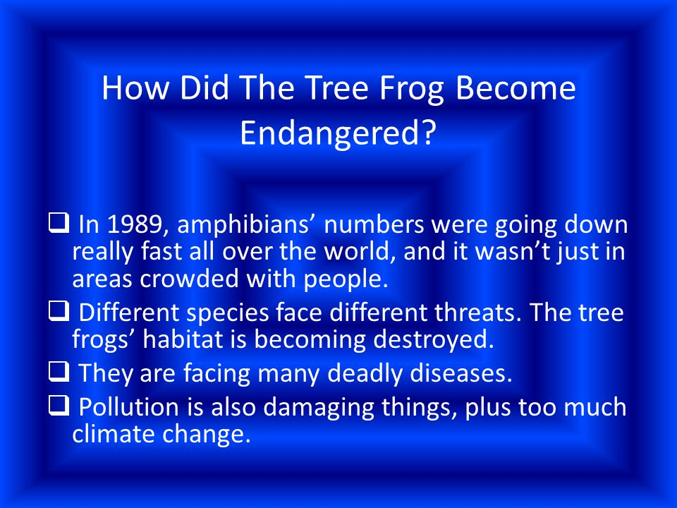 How Did The Tree Frog Become Endangered