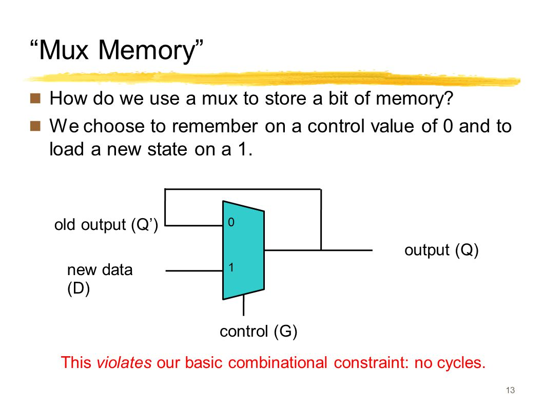 Mux Memory How do we use a mux to store a bit of memory