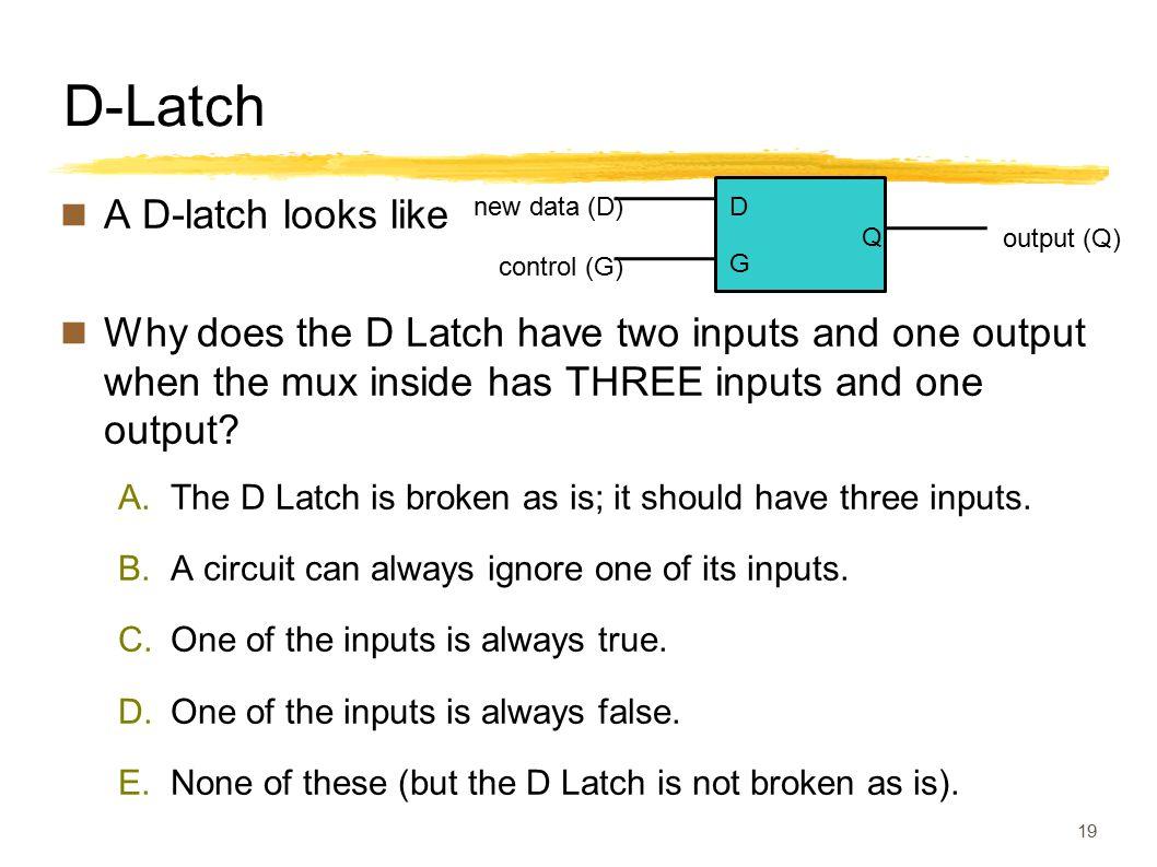 D-Latch A D-latch looks like