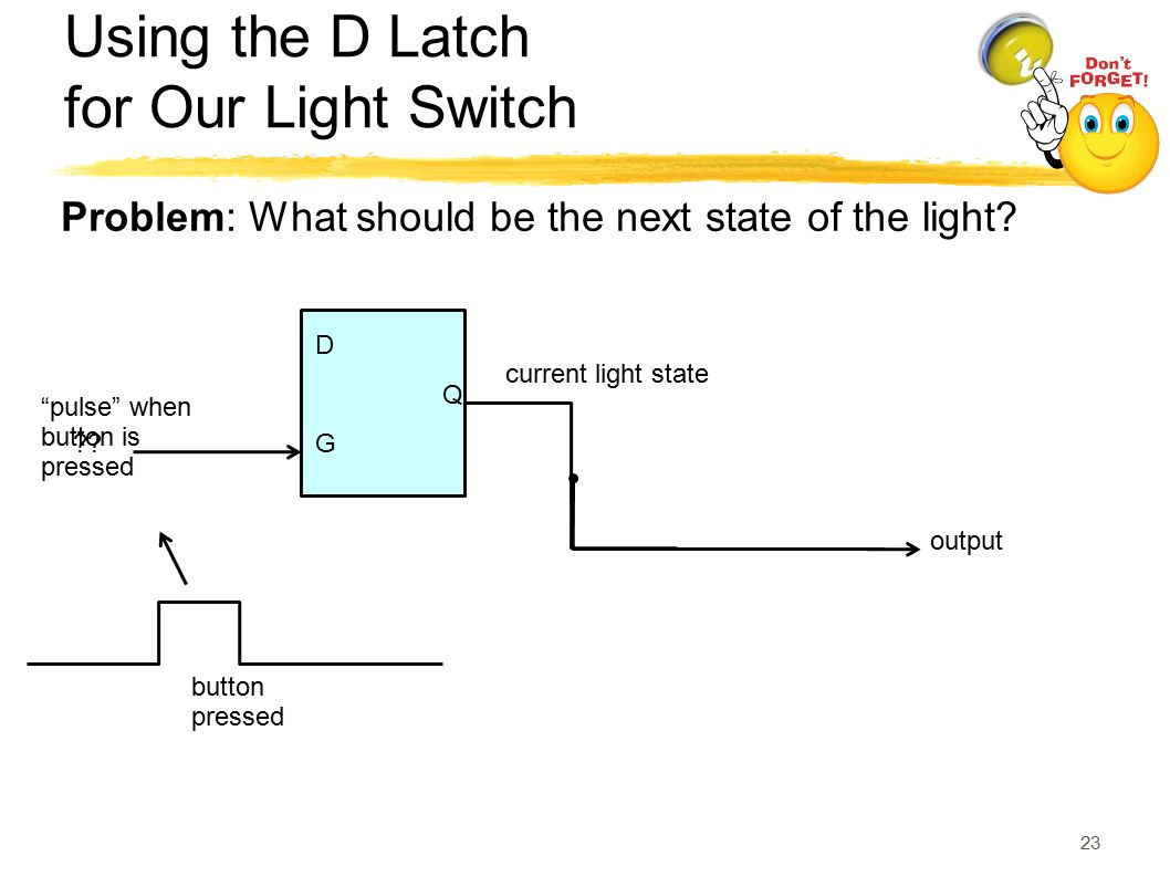 Using the D Latch for Our Light Switch