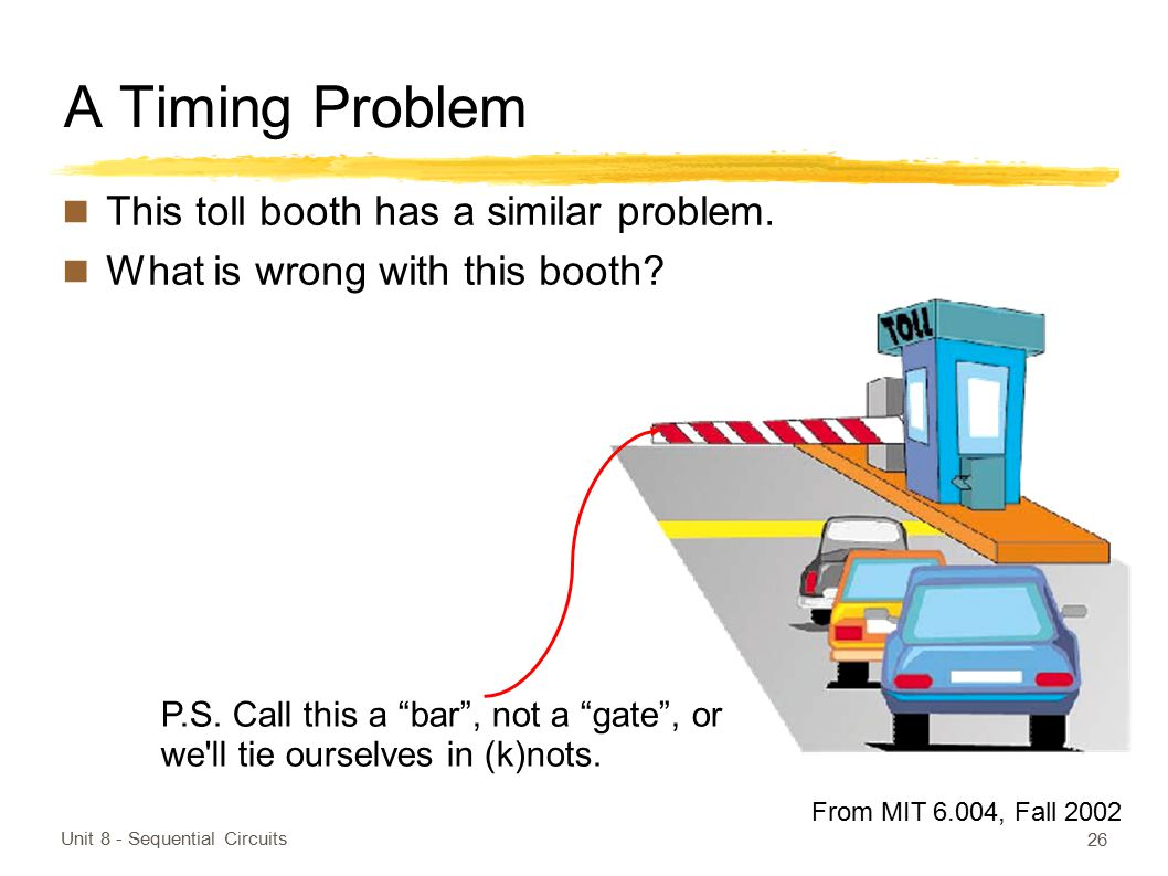 A Timing Problem This toll booth has a similar problem.