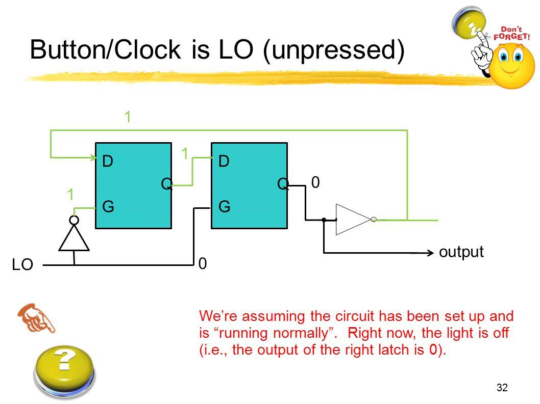 Button/Clock is LO (unpressed)