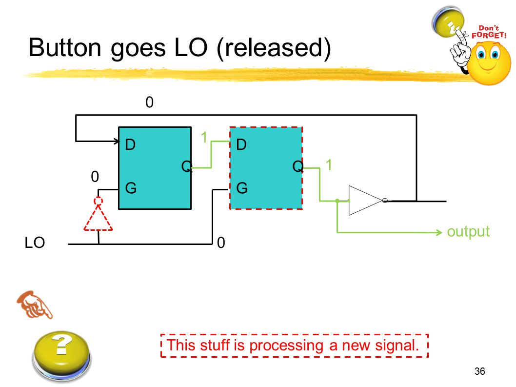 Button goes LO (released)