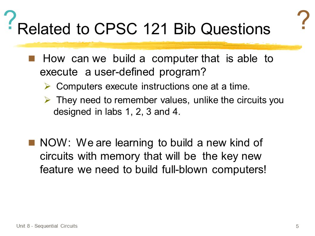 Related to CPSC 121 Bib Questions