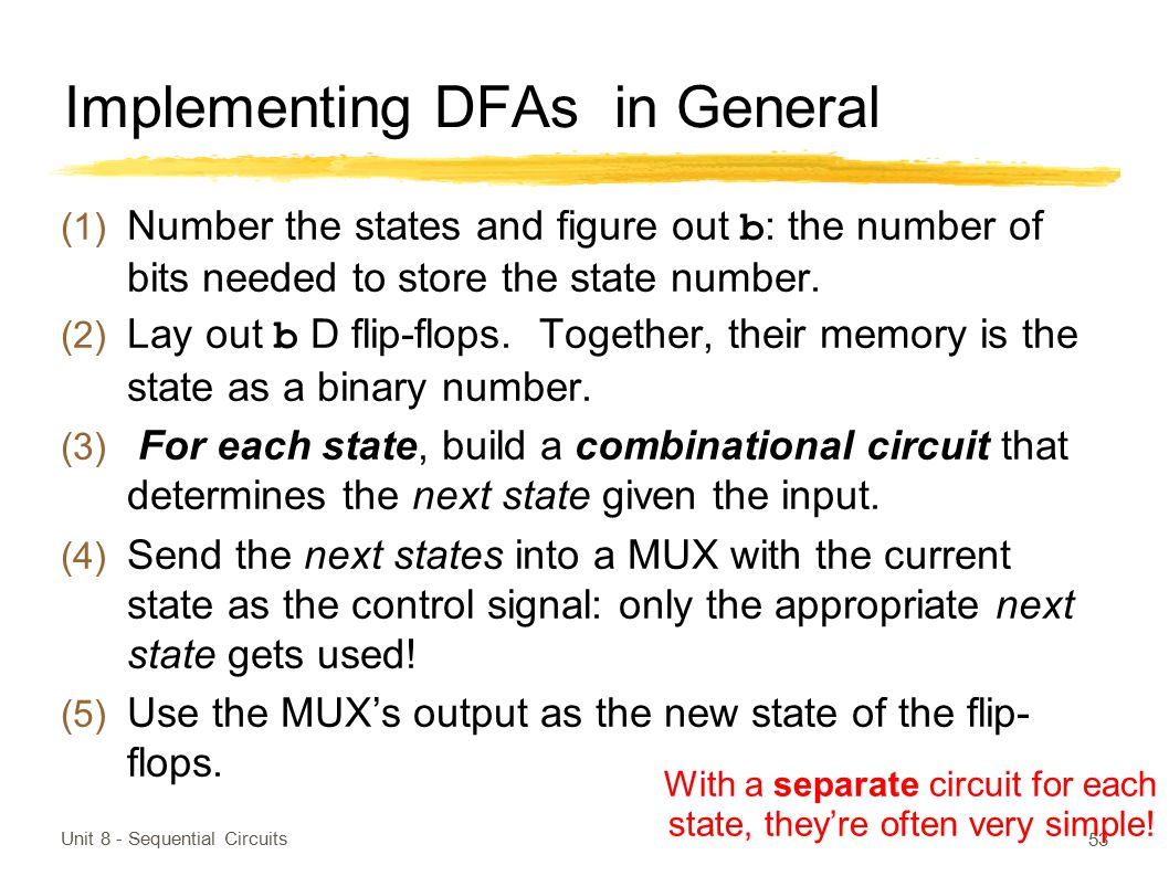 Implementing DFAs in General
