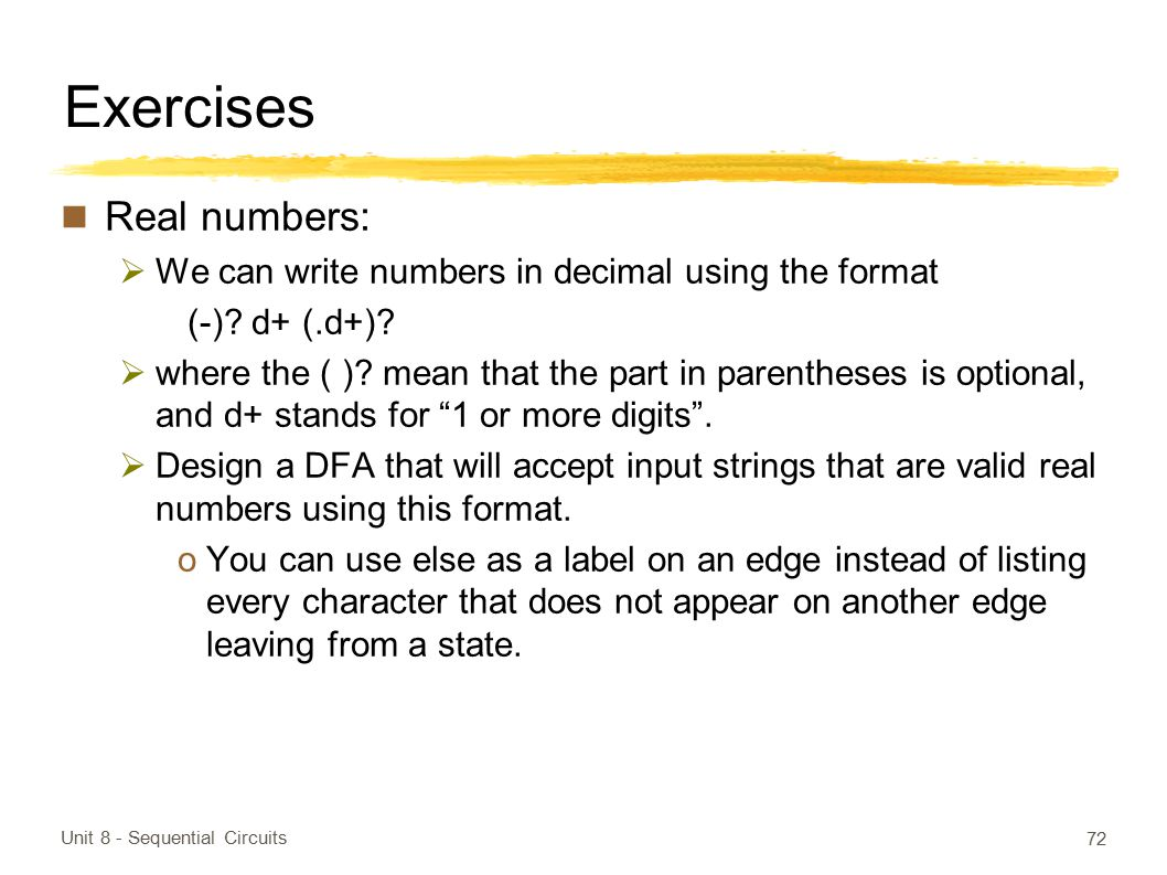 Exercises Real numbers: