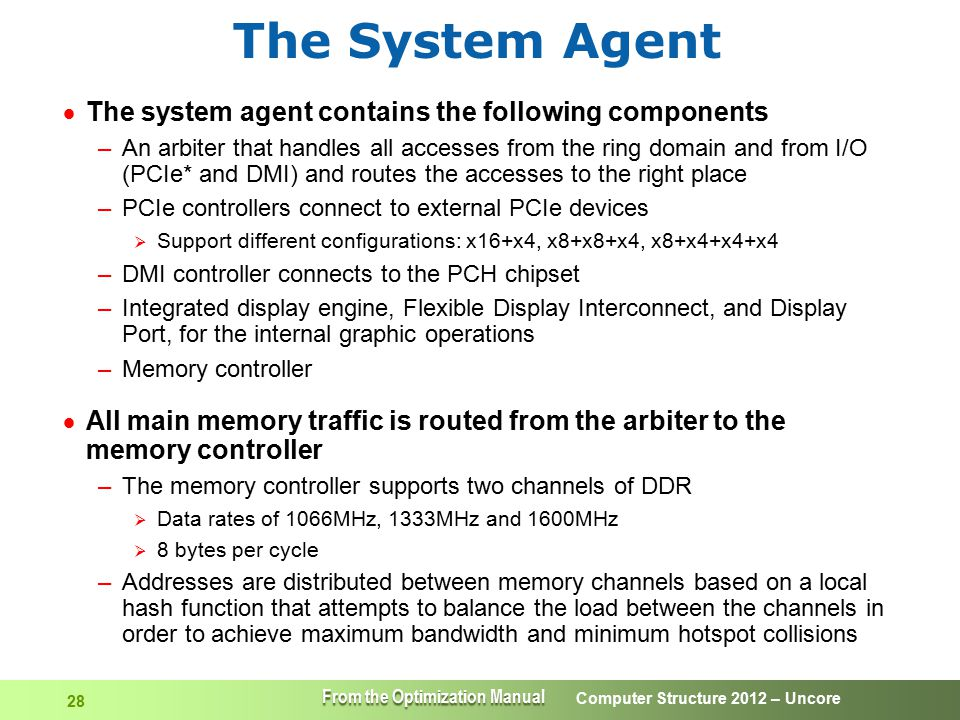 The System Agent The system agent contains the following components