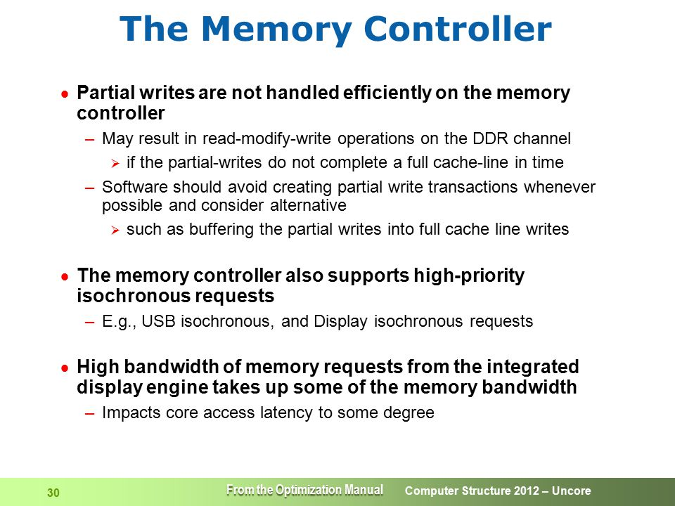 The Memory Controller Partial writes are not handled efficiently on the memory controller.