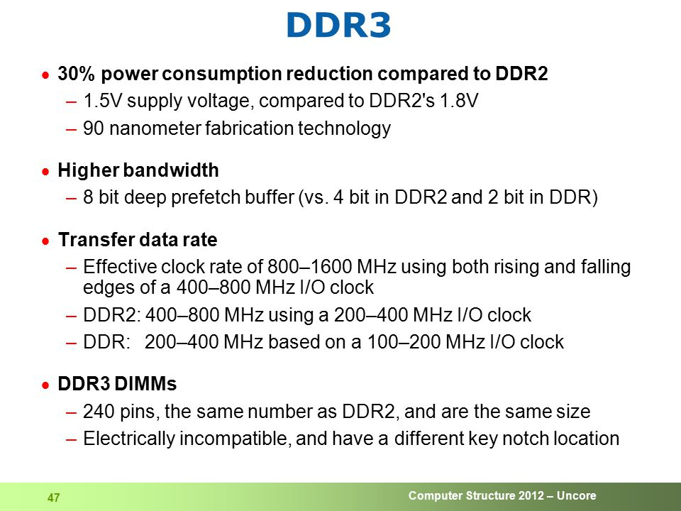 DDR3 30% power consumption reduction compared to DDR2