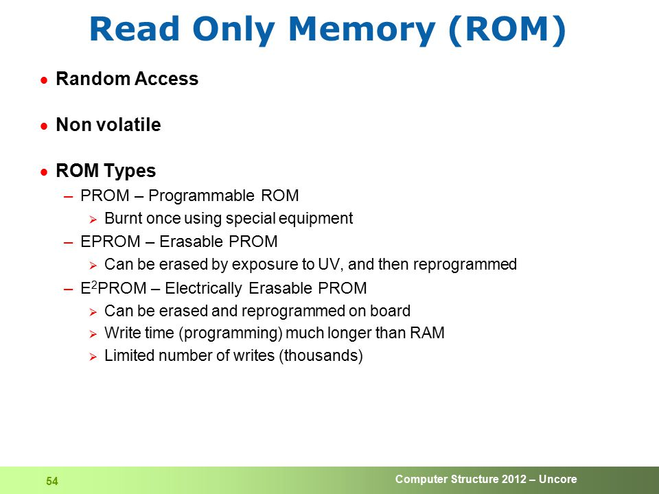 Read Only Memory (ROM) Random Access Non volatile ROM Types