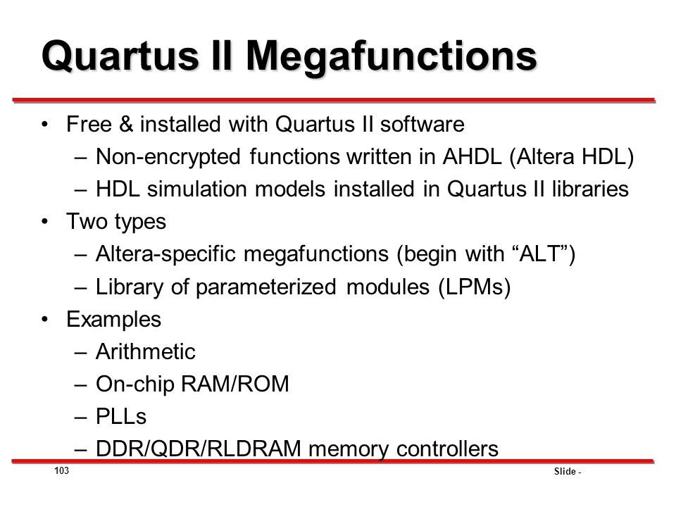 Quartus II Megafunctions