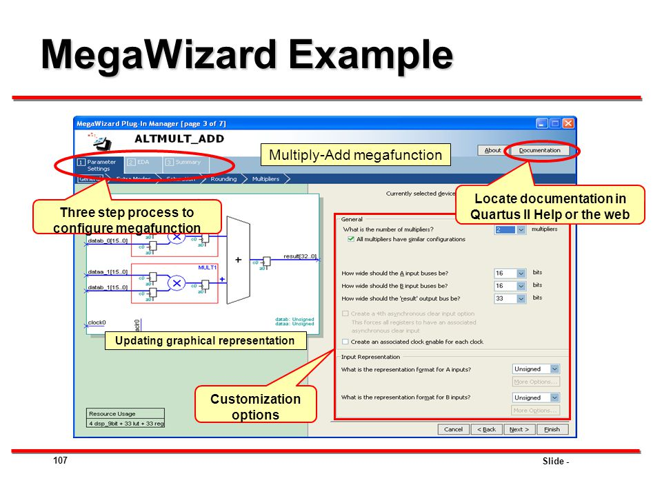MegaWizard Example Multiply-Add megafunction