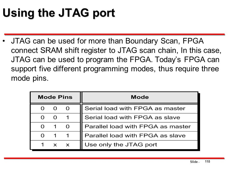 Using the JTAG port