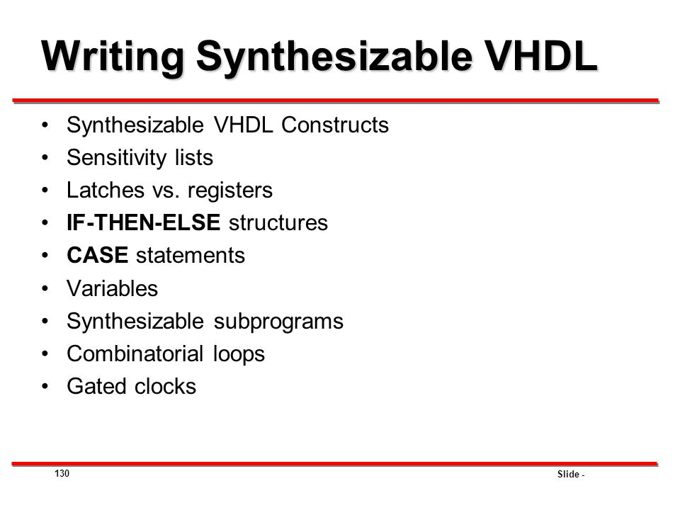 Writing Synthesizable VHDL
