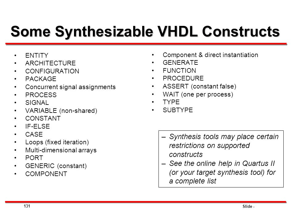 Some Synthesizable VHDL Constructs