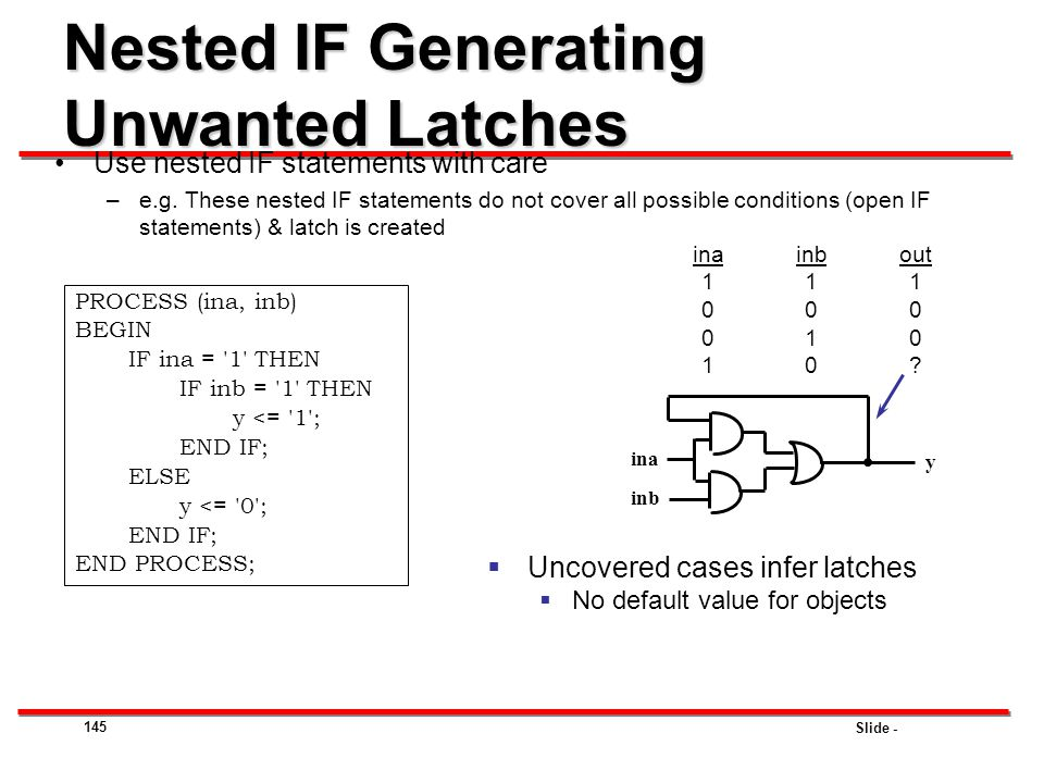 Nested IF Generating Unwanted Latches
