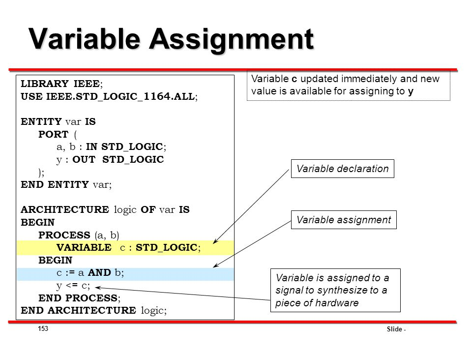 Variable Assignment Variable c updated immediately and new value is available for assigning to y. LIBRARY IEEE;