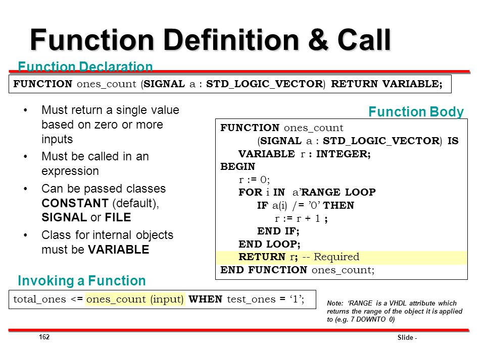 Function Definition & Call
