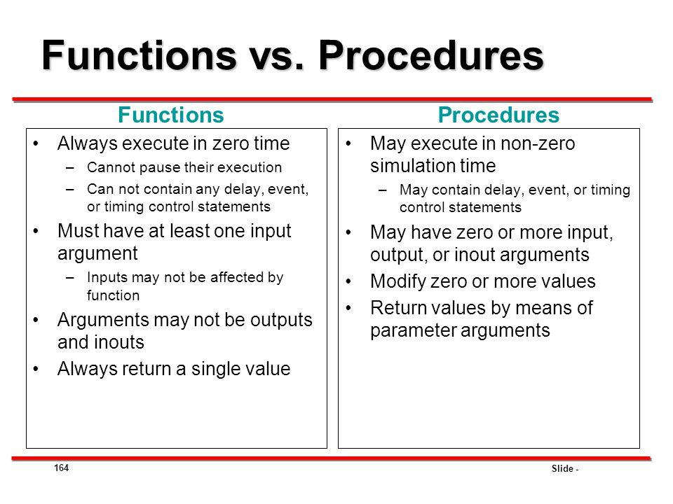 Functions vs. Procedures