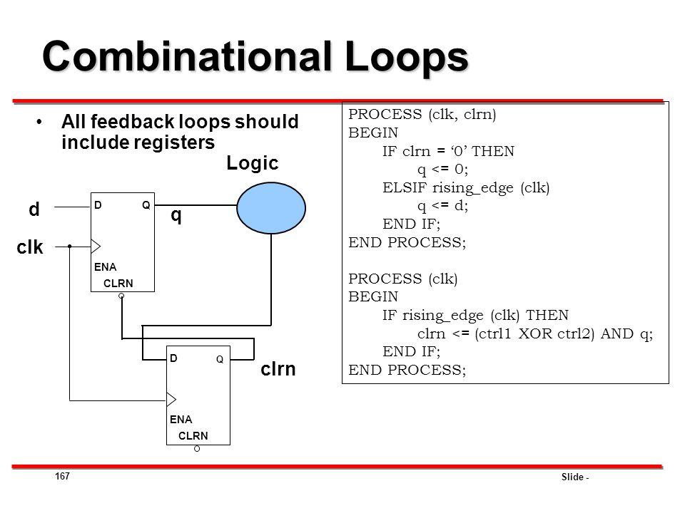 Combinational Loops All feedback loops should include registers Logic