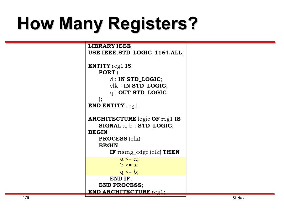 How Many Registers LIBRARY IEEE; USE IEEE.STD_LOGIC_1164.ALL;