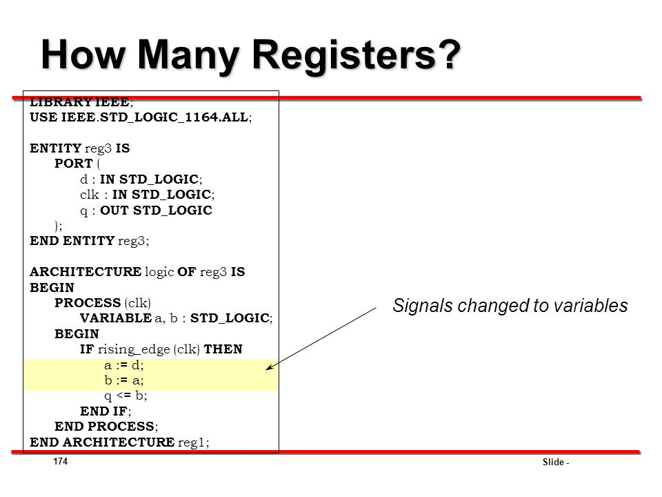 How Many Registers Signals changed to variables LIBRARY IEEE;