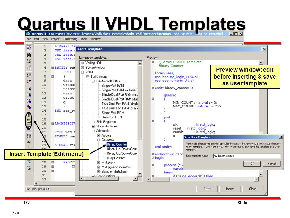 Quartus II VHDL Templates