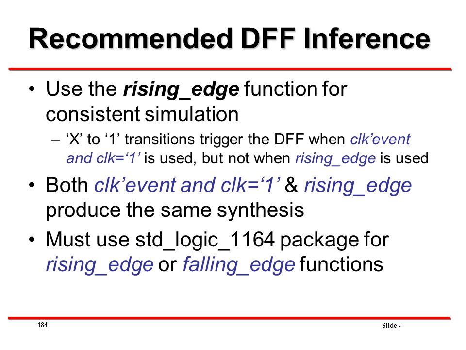 Recommended DFF Inference