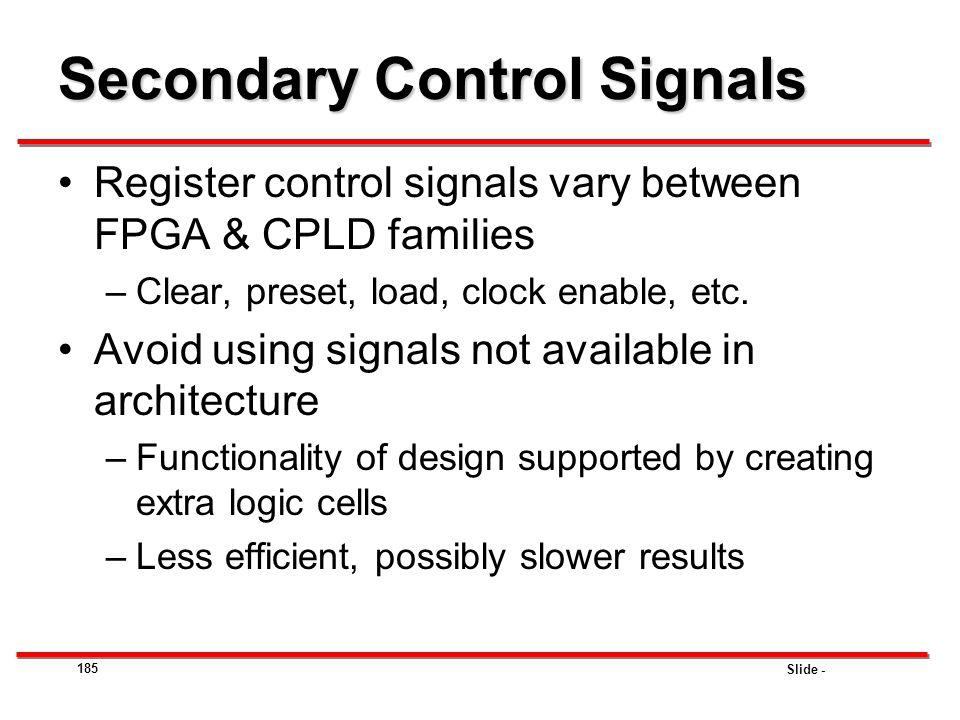 Secondary Control Signals