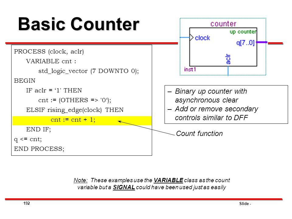 Basic Counter Binary up counter with asynchronous clear