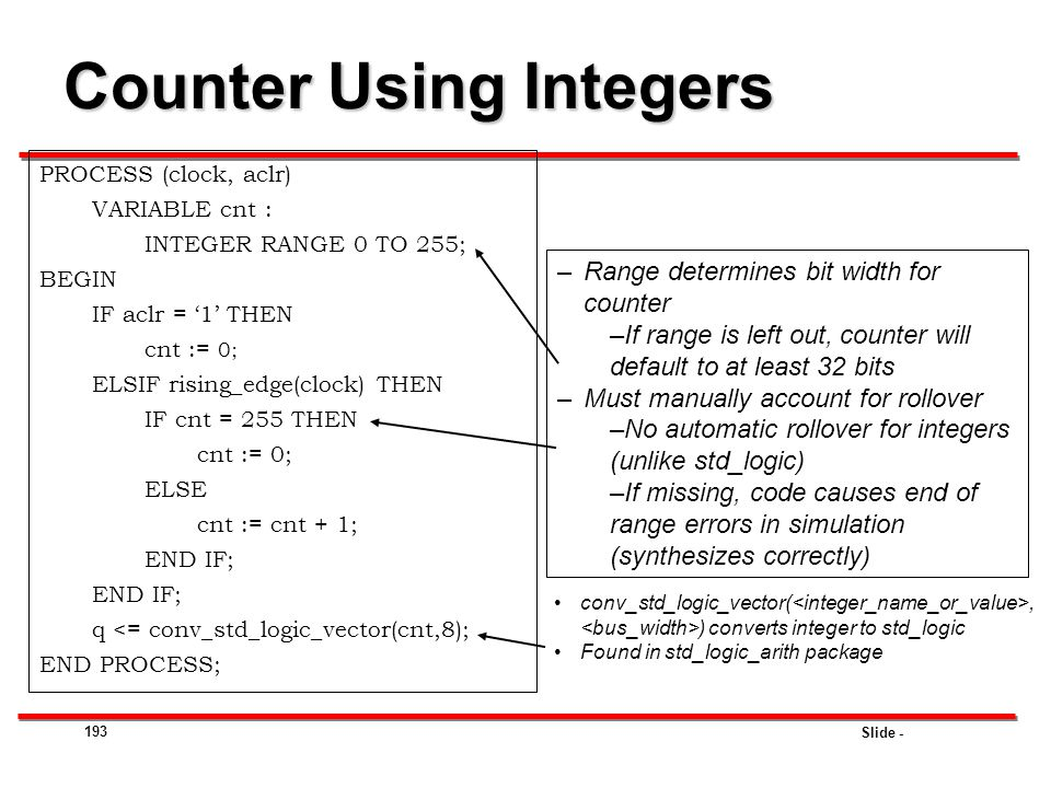 Counter Using Integers