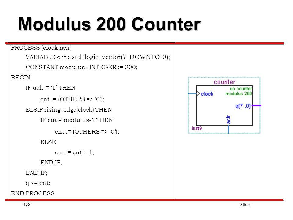 Modulus 200 Counter PROCESS (clock,aclr)