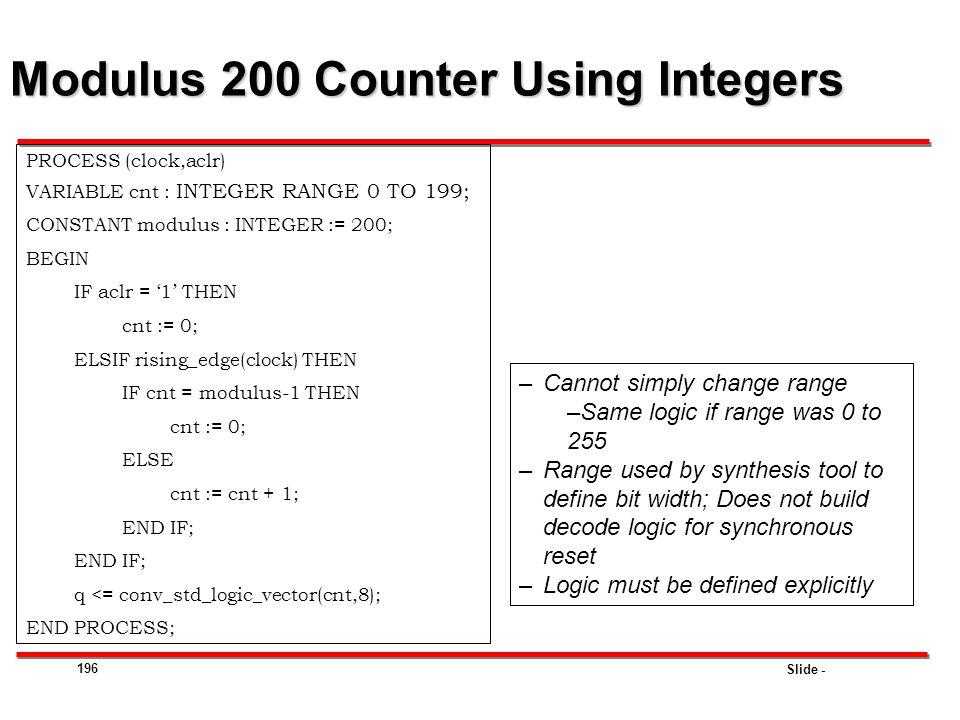 Modulus 200 Counter Using Integers