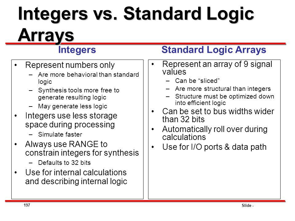 Integers vs. Standard Logic Arrays
