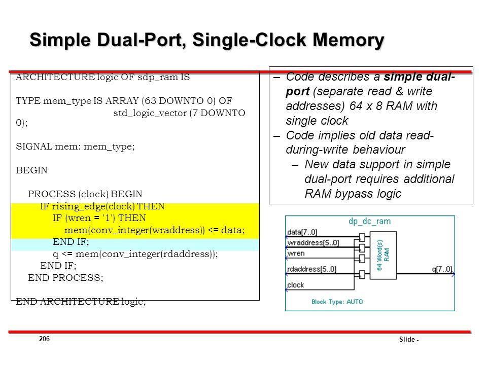 Simple Dual-Port, Single-Clock Memory