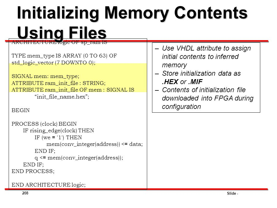 Initializing Memory Contents Using Files