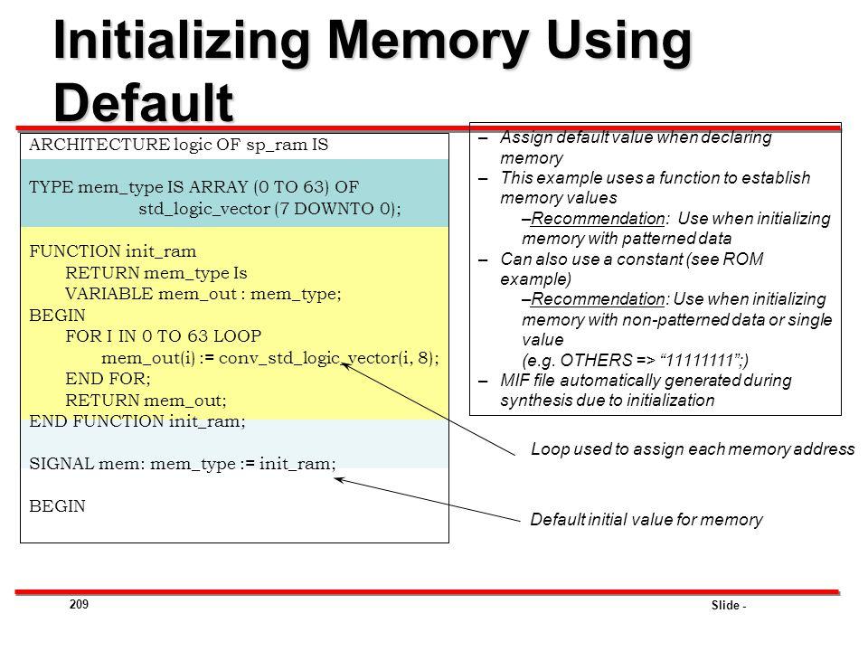 Initializing Memory Using Default