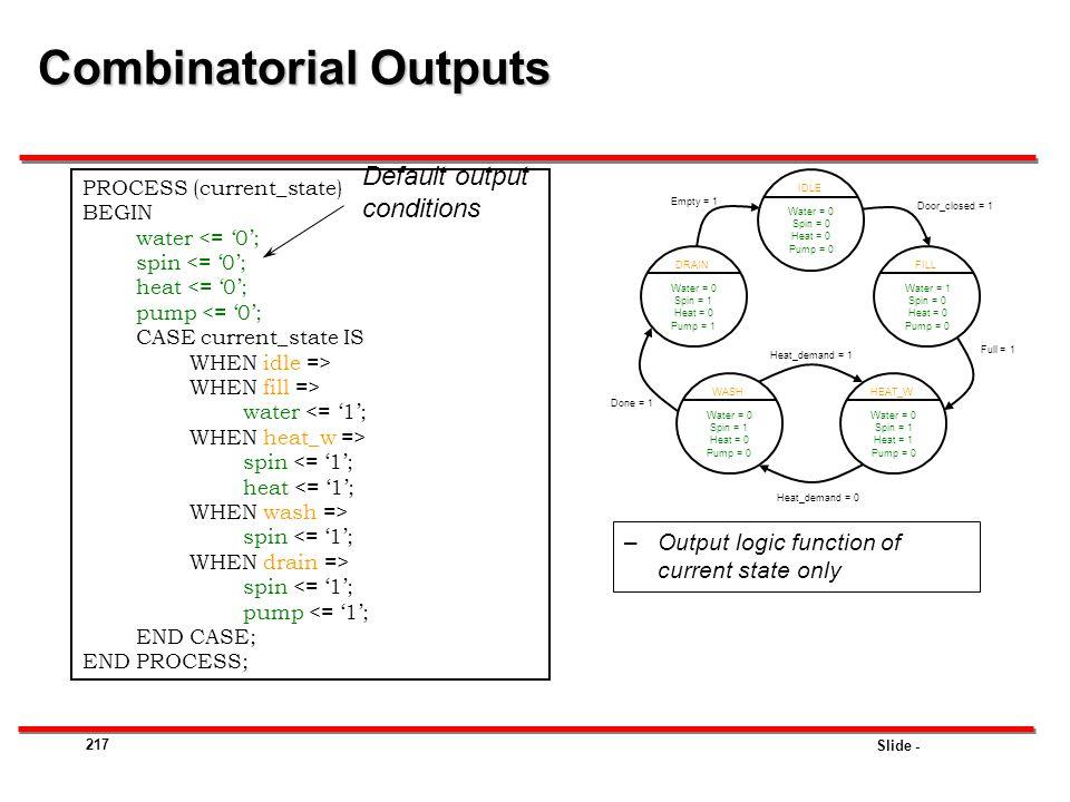 Combinatorial Outputs