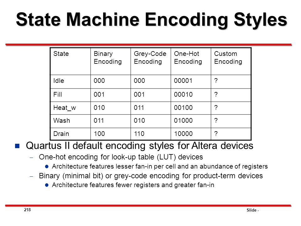 State Machine Encoding Styles