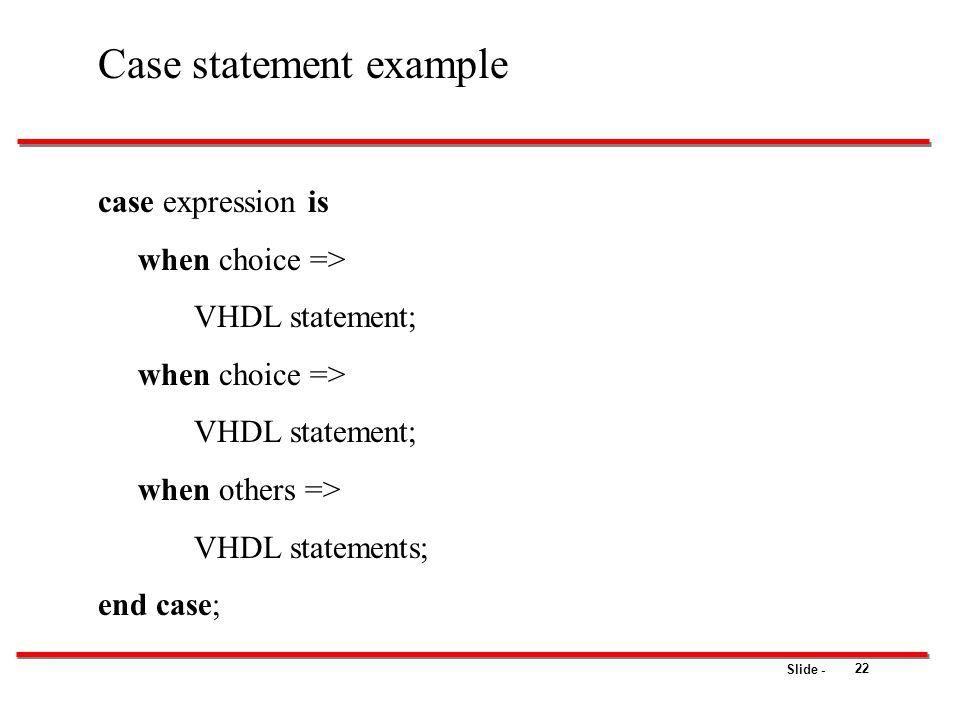 Case statement example