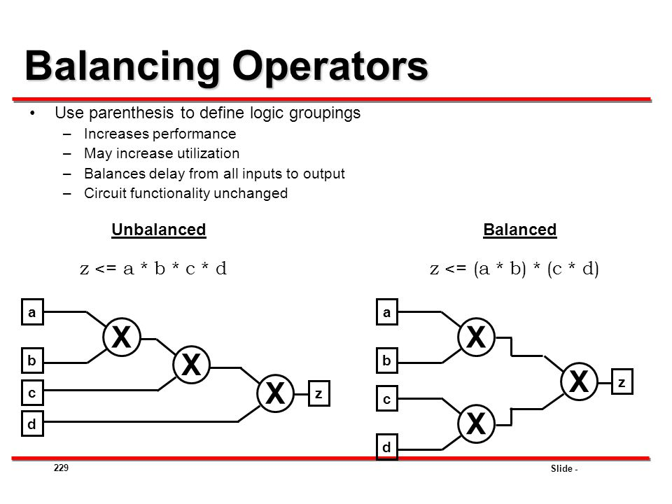 Balancing Operators X X X X X X z <= a * b * c * d